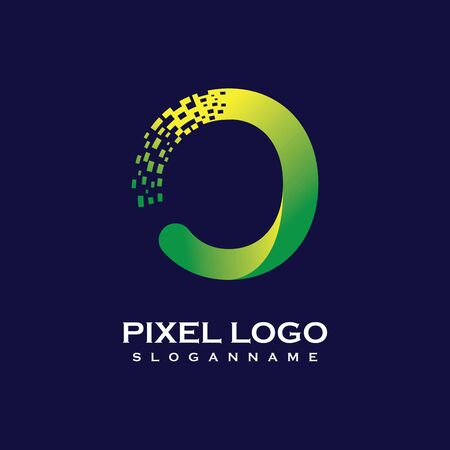O Letter initial  Design with Digital Pixels gradient Colors Иллюстрация