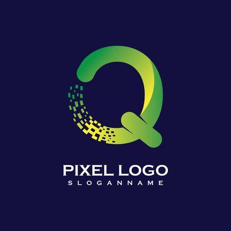 Q Letter initial  Design with Digital Pixels gradient Colors