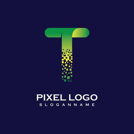 T Letter initial  Design with Digital Pixels gradient Colors