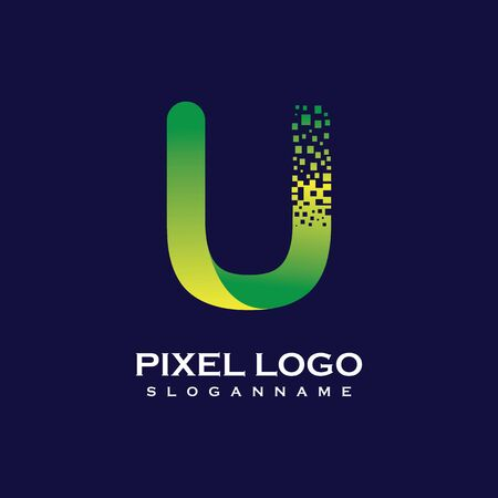 U Letter initial  Design with Digital Pixels gradient Colors