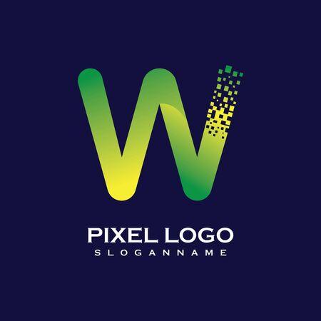 W Letter initial  Design with Digital Pixels gradient Colors