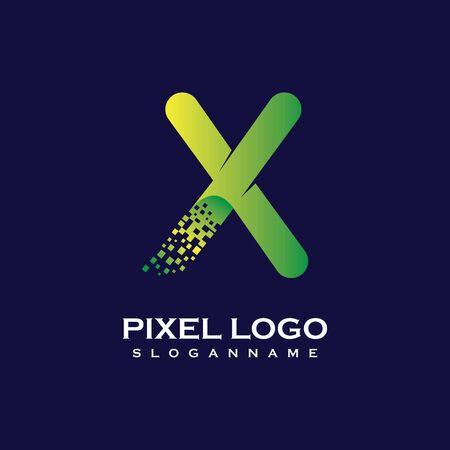 X Letter initial  Design with Digital Pixels gradient Colors Иллюстрация