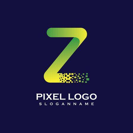 Z Letter initial  Design with Digital Pixels gradient Colors