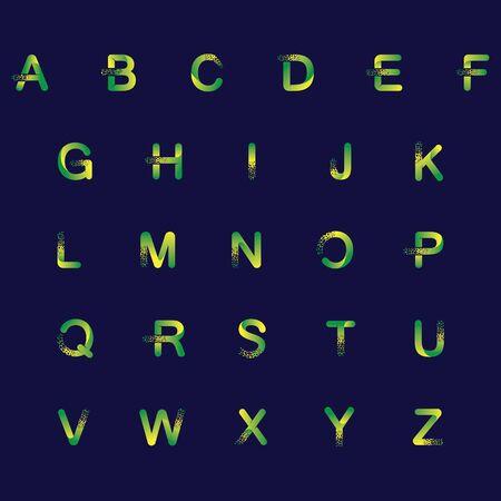 ALPHABET initial  Design with Digital Pixels gradient Colors Иллюстрация