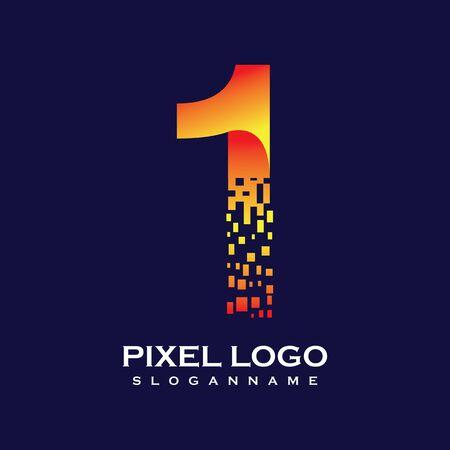 NUMBER 1 art pixel digital logo design gradient concept