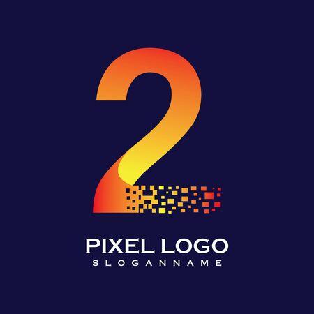 NUMBER 2 art pixel digital logo design gradient concept
