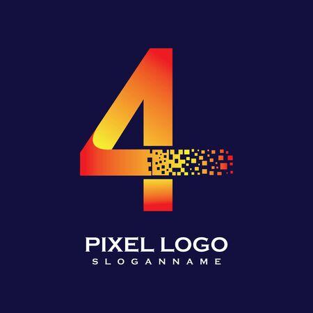 NUMBER 4 art pixel digital logo design gradient concept  Иллюстрация