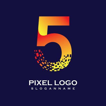 NUMBER 5 art pixel digital logo design gradient concept