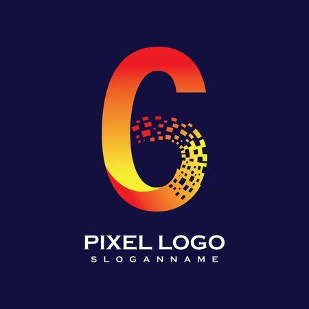 NUMBER 6 art pixel digital logo design gradient concept  Иллюстрация
