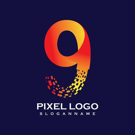NUMBER 9 art pixel digital logo design gradient concept