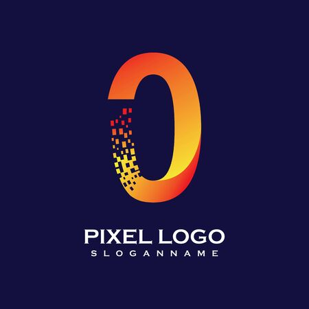 NUMBER 0 art pixel digital logo design gradient concept  Иллюстрация