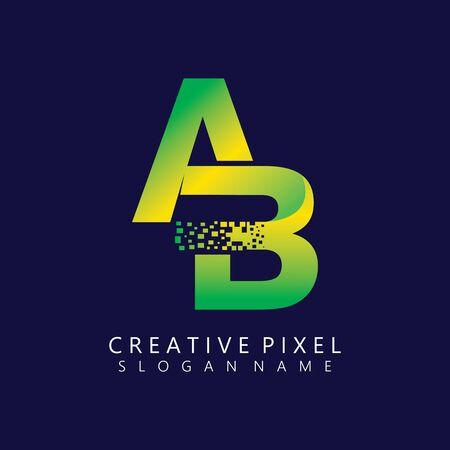AB Initial Logo Design with Digital Pixels Colors illustration vector