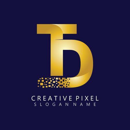 TD Initial Logo Design with Digital Pixels Colors illustration vector