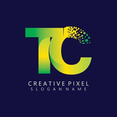 TC Initial Logo Design with Digital Pixels Colors illustration vector