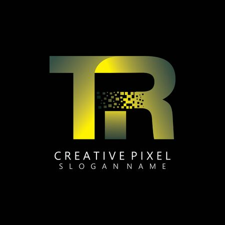 TR Initial Logo Design with Digital Pixels Colors illustration vector