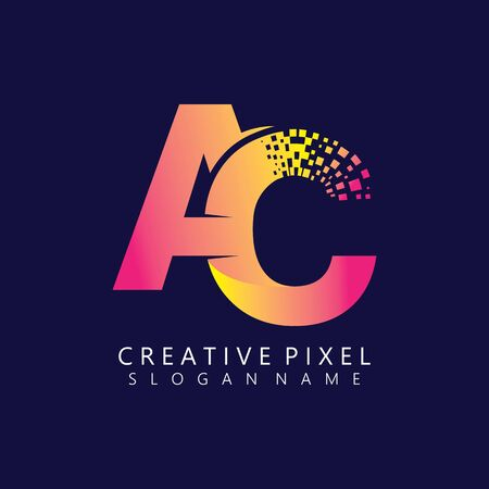 AC Initial Logo Design with Digital Pixels Colors illustration vector Иллюстрация
