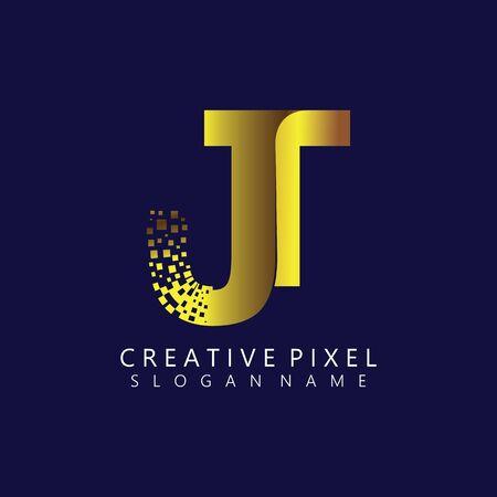 JT Initial Logo Design with Digital Pixels Colors illustration vector
