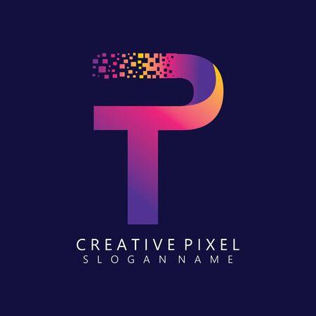 TP Initial Logo Design with Digital Pixels Colors illustration vector