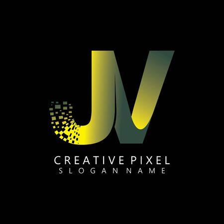 JV Initial Logo Design with Digital Pixels Colors illustration vector Иллюстрация