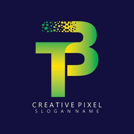 TB Initial Logo Design with Digital Pixels Colors illustration vector Иллюстрация