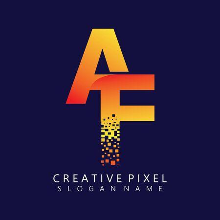 AF Initial Logo Design with Digital Pixels Colors illustration vector