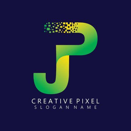 JP Initial Logo Design with Digital Pixels Colors illustration vector