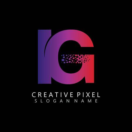 IG Initial Logo Design with Digital Pixels Colors illustration vector Иллюстрация