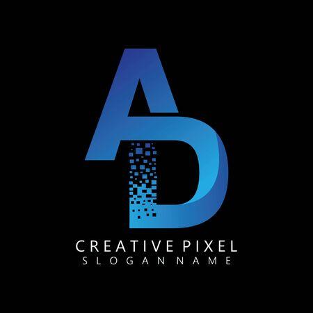 AD Initial Logo Design with Digital Pixels Colors illustration vector Иллюстрация