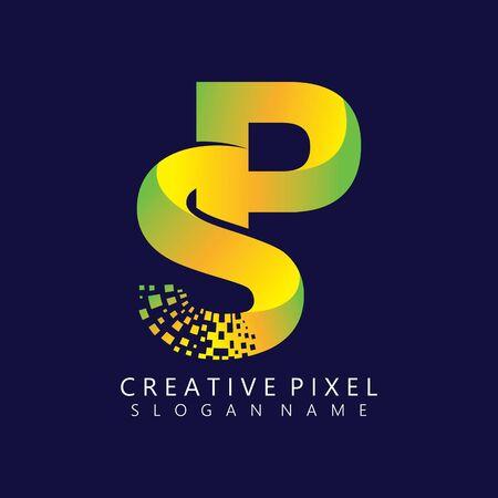 SP Initial Logo Design with Digital Pixels Colors illustration vector