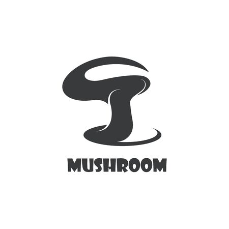 Mushroom logo modern and simple stamp style. nature or food vector design 