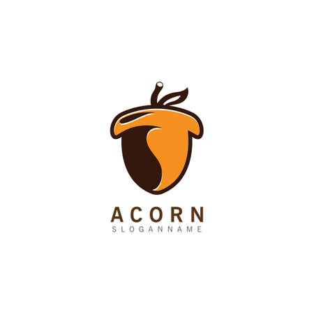 Acorn OAK inspiration simple logo ilustration vector icon template