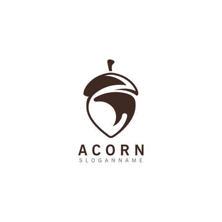 Acorn OAK inspiration simple logo ilustration vector icon template