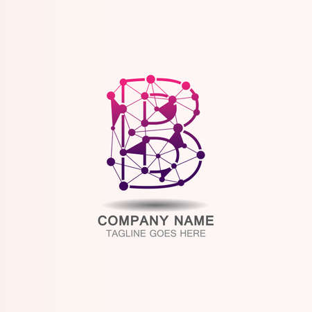 Letter B logo with Technology template concept network icon vector