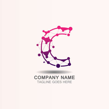 Letter C logo with Technology template concept network icon vector