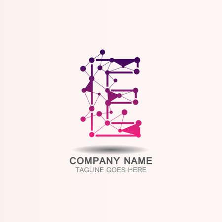 Letter E logo with Technology template concept network icon vector Ilustração