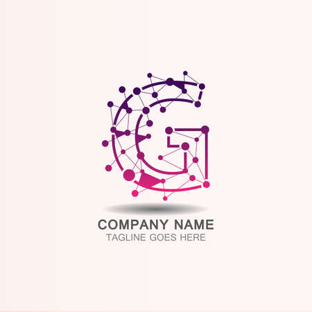 Letter G logo with Technology template concept network icon vector