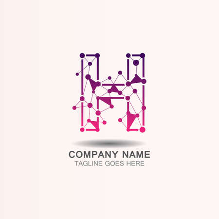 Letter H logo with Technology template concept network icon vector
