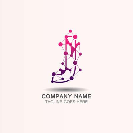 Letter J logo with Technology template concept network icon vector Ilustração