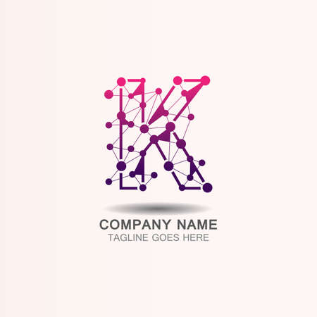 Letter K  logo with Technology template concept network icon vector