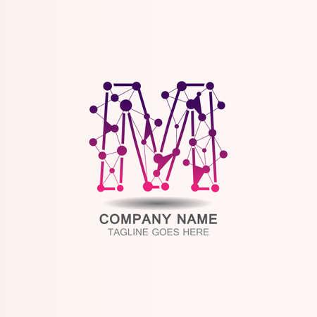 Letter M  logo with Technology template concept network icon vector Ilustração