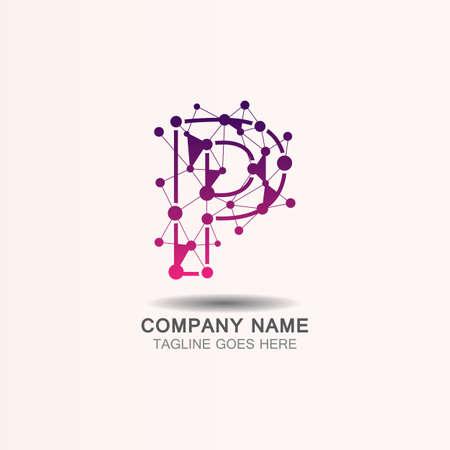 Letter P  logo with Technology template concept network icon vector Ilustração