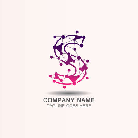 Letter S  logo with Technology template concept network icon vector