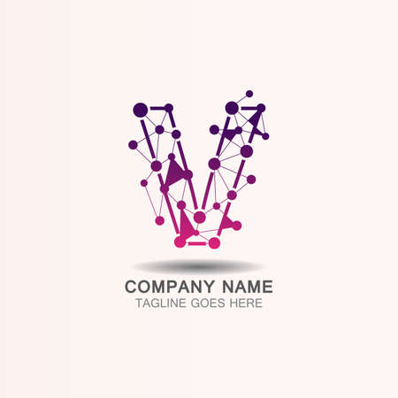 Letter V  logo with Technology template concept network icon vector