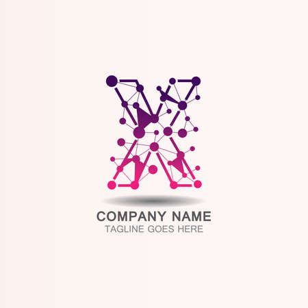 Letter X  logo with Technology template concept network icon vector