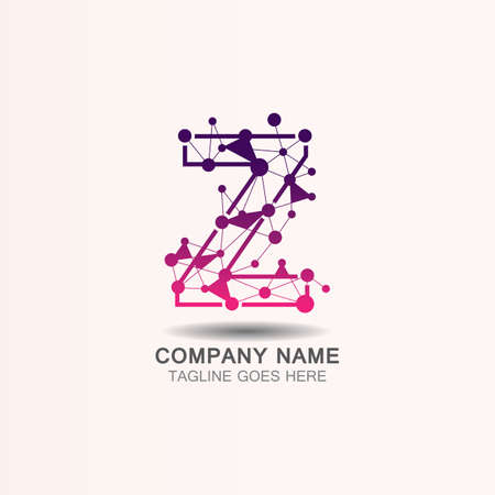 Letter Z  logo with Technology template concept network icon vector