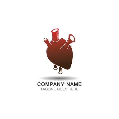 Human heart flat organ arteries vector design icon for medical health apps Ilustração