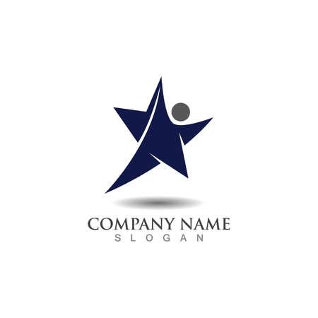 People combination Star concept logo inspiration design template vector Ilustração