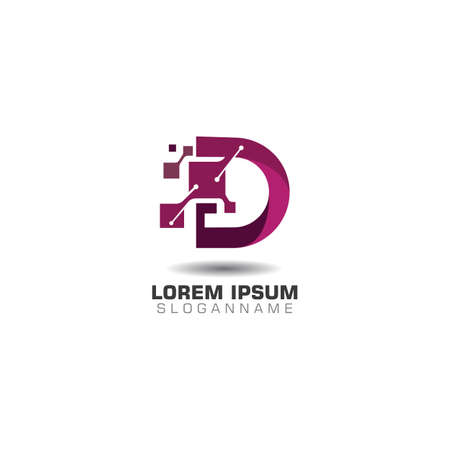 Letter D pixel logo with Technology template concept network icon vector