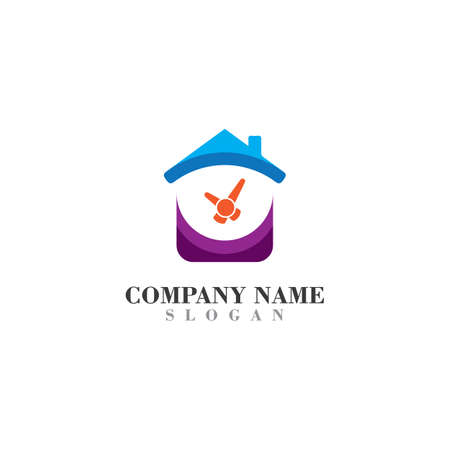 Home with Time logo inspiration design icon template Иллюстрация
