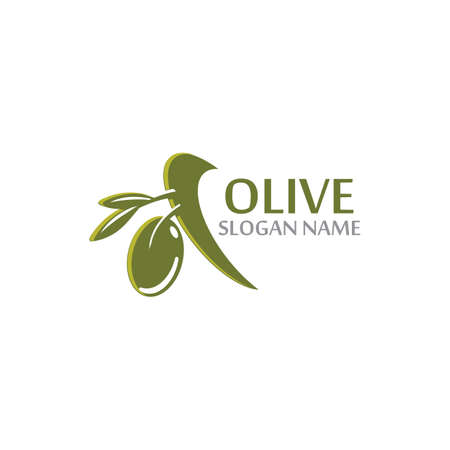 Olive oil with green leaves branch. Natural fruits and vegetable vector Иллюстрация